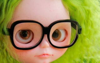 nerd girl with green hair